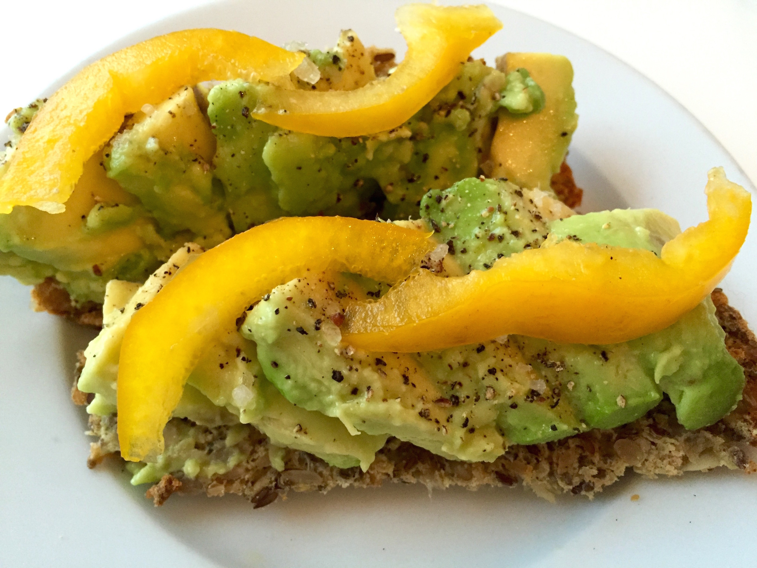 Avocado on bread made of seeds